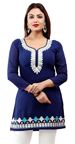 (Maple Clothing India Kurti Tunic Top Women's Embroidered Indian Apparel (Blue, S))