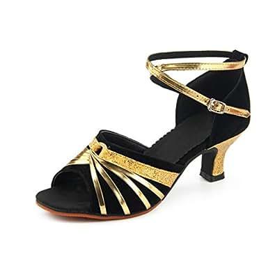 Fulision Women's Latin Dance Shoes Salsa Ballroom Dancing Shoes Low Heel Party