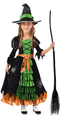 Costume Of Witch Halloween (Fairytale Green Cute Witch Dress Halloween Costume Deluxe Set with Hat for Girls)