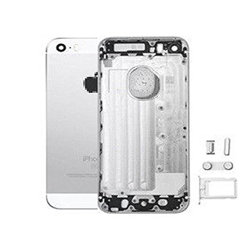 Battery Housing Door For iPhone 5/5G with Logo Hybrid Metal Back Cover Replacements With Free tools,Silver ()
