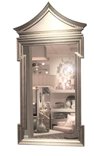 Global Views Luxe Chinoiserie Silver Pagoda Arch Top Wall Mirror   50