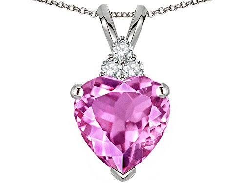 Star K 8mm Heart Shape Created Pink Sapphire Three Stone Pendant Necklace 10 kt White Gold