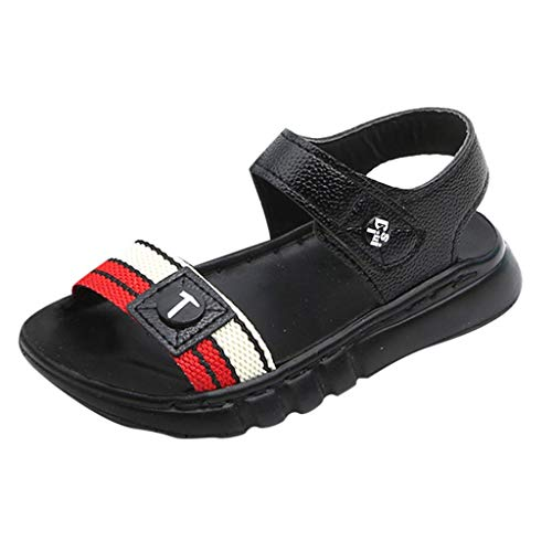 (Summer Kids Shoes Unisex Toddler Open Toe Flat Sandals Casual Sport Beach Sandals for Baby Boys Girls Black)