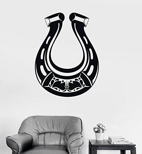 BorisMotley Wall Decal Horseshoe Good Luck Talisman Vinyl Removable Mural Art Decoration Stickers for Home Bedroom Nursery Living Room Kitchen