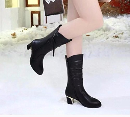 KHSKX-Black 5.5Cm Female Boots Women In Autumn And Winter Boots And Shoes Leather Boots Rough With The Girl With Short Boots. 36 NfOm4
