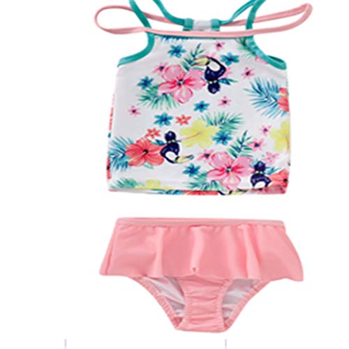 Tsavm Baby Girls Swimwear Floral Print Swimsuits Quick Dry Summer Bathing Suit for Children