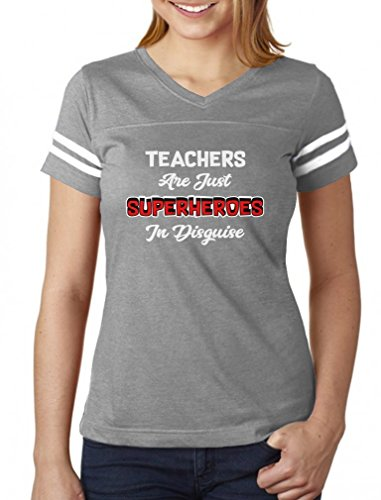 Teachers are Superheroes Funny Back to School Gift Women Football Jersey T-Shirt Medium -