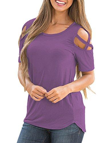 Lookbook Store Women's Purple Casual Crisscross Cold Shoulder Short Sleeve Basic T-Shirt Blouse Tops Size Medium (US 8-10) (T-shirt Womens 07)
