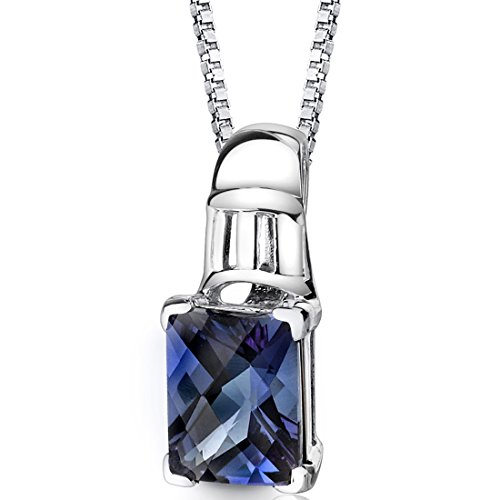 Simulated Alexandrite Pendant Sterling Silver Rhodium Nickel Finish 2.75 carats Radiant Cut