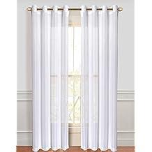 Dainty Home Malibu Linen Look Sheer Grommet Window Panel, 110 by 84-Inch, White