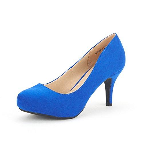 DREAM PAIRS Tiffany Women's New Classic Elegant Versatile Low Stiletto Heel Dress Platform Pumps Shoes Royal-Blue Size 10