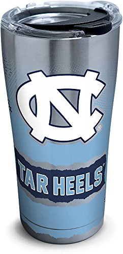 Tervis 1269204 North Carolina Tar Heels Knockout Stainless Steel Tumbler with Clear and Black Hammer Lid 20oz, Silver - North Carolina Stainless Travel Mug