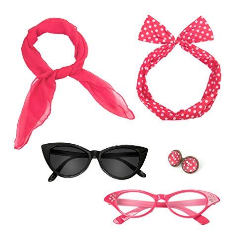 Retro 50s Costume Accessories Set Polka Dot Chiffon Scarf Cat Eye Glasses Bandana Tie Headband & Earrings Girls Women Ladies Dress up (Rose)