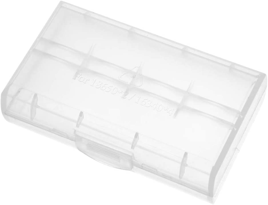 uxcell Battery Storage Case Holder Transparent for 2 x 18650 or 4 x RCR123/16340 Batteries Capacity
