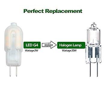 Warm White 3000K, 10-Pack Under Cabinet Light AC//DC 12V Bi Pin Base,Milky Case,20W Halogen Bulb Replacement Pocektman 2W G4 LED Bulb