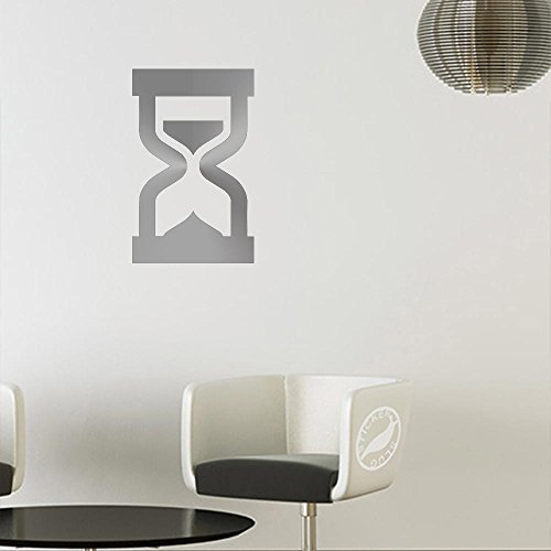 Hourglass Decal Sticker (matte metallic silver, 8 inch, reversed)