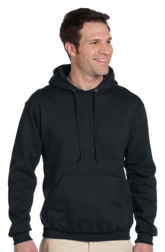 Jerzees mens 9.5 oz. 50/50 Super Sweats NuBlend Fleece Pullover Hood(4997)-BLACK-S - Jerzees 4997 Hoodie Sweatshirt