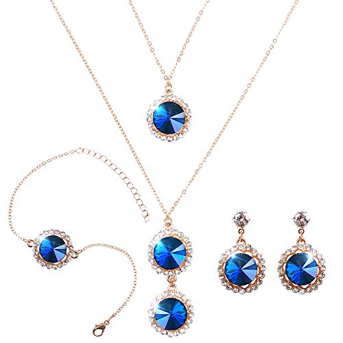ELFTUNE Elegant Jewelry Set for Women 18k Gold Necklace Earrings Bracelets Set Round Cubic Zirconia Crystal Bridal Pendant for Wedding Bride Bridesmaids