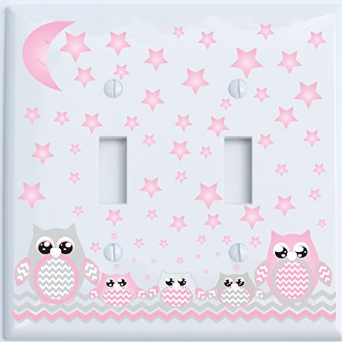 Grey and Pink Owl Double Toggle Light Switch Plate Covers (Double Toggle Pink Owl)