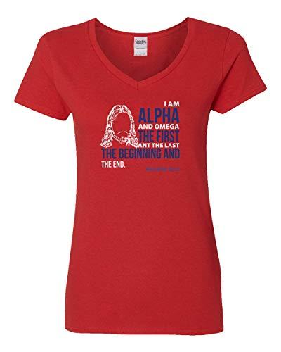 (Societee I Am The Alpha and The Omega Religious Christian Jesus Christ Women's V-Neck T Shirt)