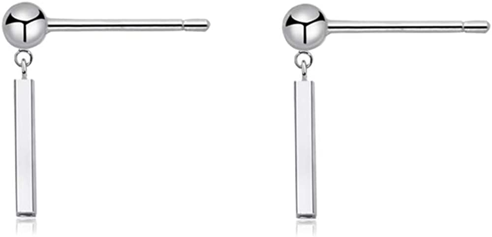 Minimalist Bar Dangle Stud Earrings Sterling Silver for Women Girls Simple Chic Statement Ball Ear Studs Post Piercing Earring Cute Jewelry Gifts