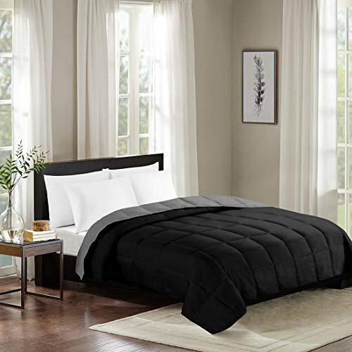 SENDI Goose Down Alternative Quilt Comforter Reversible Luxury Fluffy Bedding Duvets for Home and Hotel,Black and Grey Queen