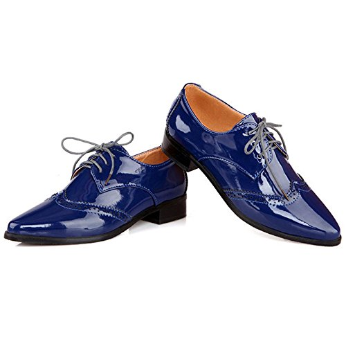 TAOFFEN Women's Simple Low Heel Pumps Blue-6022 hBv0B