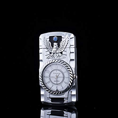 New Fashion Metal Windproof Jet Torch Gas Butane Cigarette Lighter Bird Quartz Watch (Silver Color)