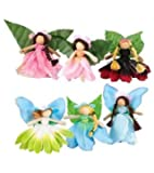 "Magic Cabin Take-Along Posable Pocket Fairies with Leaf Wings Inside an Organza Bag, Set of 6, 2 1/2"" H"