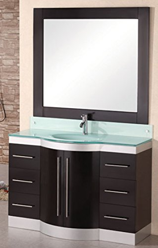 Design Element Jade Single Integrated Glass Drop-In Sink and Countertop Vanity Set, 48-Inch ()
