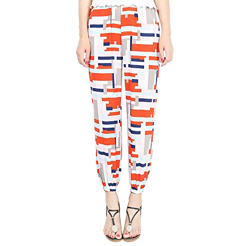 YuanDian Mujer Verano Casual Geometría Estampados Gasa Anchos Delgado Pantalones Harem Cintura Elastica Baggy Largos Yoga Harén Pantalon Rojo
