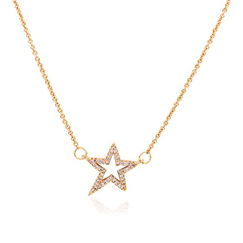 - Zealmer Crystal Star Necklace Rhinestone Make a Wish Star Pendant Necklace with Message Card for Women