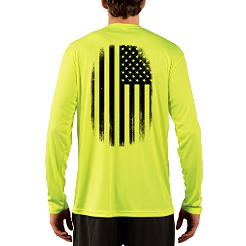 (Dead Or Alive Clothing Men's Black and White American Flag UPF 50+ Long Sleeve T-Shirt Large Safety Yellow )