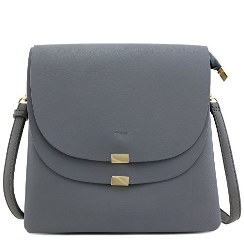 Double Flap Top Medium Crossbody Bag (Sky Grey) Double Flap Handbag