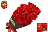 Artificial Red roses Flower Bouquet in box with Card Gift for Women,Girlfriend,Mother,Her,Girls,Sister,Valentine's Day,Mother's Day, Anniversary, Birthday Gift