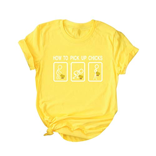 How to Pick Up Chicks T Shirt,SMALLE◕‿◕ Womens Graphic Funny t Shirts Tops Cute Funny Saying Cotton Casual T-Shirt Tees Yellow