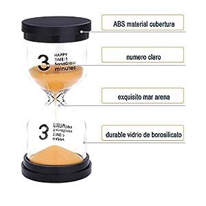 JUNDUN Reloj de Arena Temporizador de Arena en 4 Colores 3/5/10/20 Minutos Reloj de Arena para Niños, Aula, Cocina, Juegos, de Cepillado, de Decoración(4 Unidades) 3