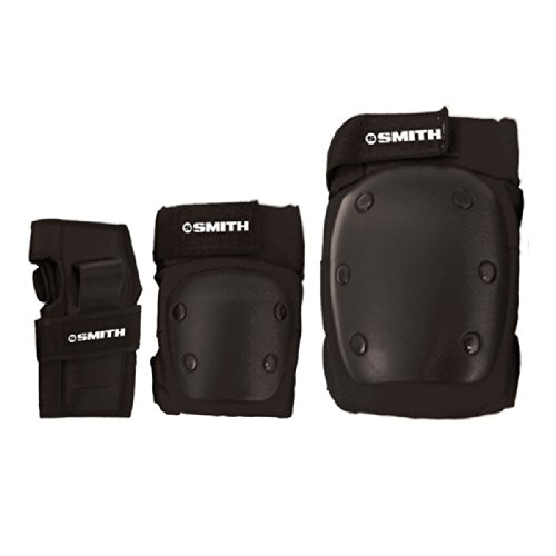 Smith Safety Gear Scabs Knee/Elbow/Wrist Guard Set (Pack of 3), Black, Medium (Gear Protective Derby Roller)