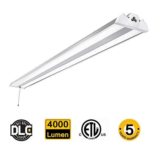 SZGMJIA 4FT 40W Linkable LED Shop Light with Cord, CREE LED 4000 Lumen Super Bright Hanging or Flush Mount Garage Utility Light, 5000K, 300W Fluorescent Fixture Replacement
