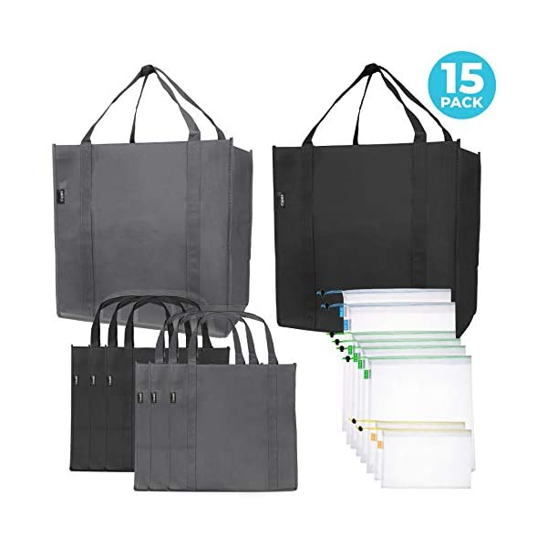 Reusable Folding Grocery and Produce Bags: 6 Large Fabric Totes with Handles and Inner Pocket and 9 Eco Friendly Breathable Mesh Produce Bags – Foldable Cloth Shopping Tote
