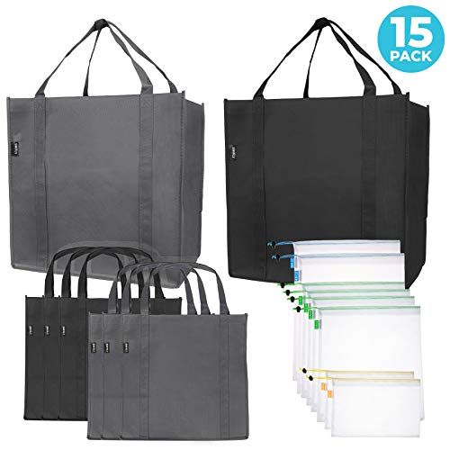 Reusable Folding Grocery and Produce Bags: 6 Large Fabric Totes with Handles and Inner Pocket and 9 Eco Friendly Breathable Mesh Produce Bags - Foldable Cloth Shopping Tote and Mesh Bag Set - 15 Pack (Shopping Bags That Fold Into A Pouch)