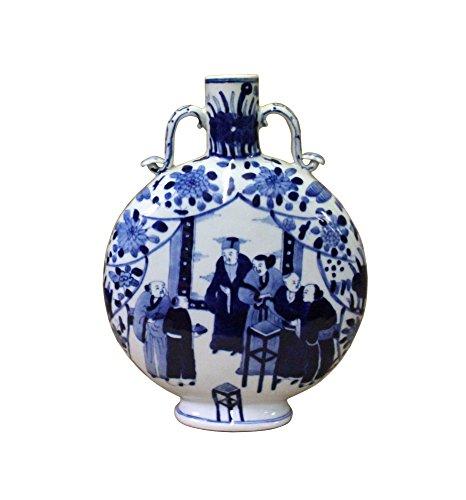 (Chinese Blue White Porcelain Scenery Round Flat Flask Vase Acs4094)