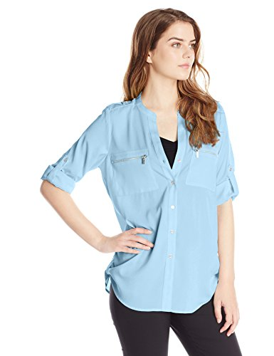 6f4532a3 Galleon - Calvin Klein Women's Modern Essential Zipper Button-Front Blouse,  Iceburg, XL