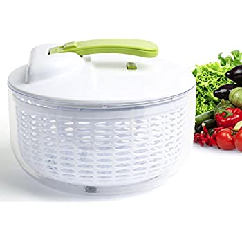 [Upgraded] Salad Spinner - Large 6.3 Quart Capacity BPA Free Lettuce Vegetable Dryer with Lid, Colander Basket Insert, Clear Storage Container | No-Mess | 1 Hand Operation | Dishwasher Safe