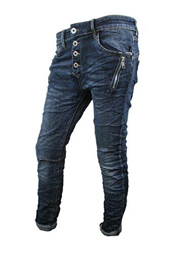 Zip Denim Stretch Baggy-Jeans Boyfriend schräge Naht 4 Knöpfe offene Knopfleiste Große Größen (2XL-44, Dark Denim)