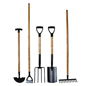 simpa® 5PC Carbon Steel Garden Tool Set – Spade, Fork, Rake, Hoe & Edging Iron – Heat Treated Carbon Steel Heads with Hammer Tone Finish – Ash Wood Handles – Heavy Duty Set – Quality Craftsmanship