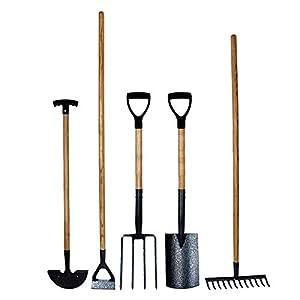simpa® 5PC Carbon Steel Garden Tool Set – Spade, Fork, Rake, Hoe & Edging Iron – Heat Treated Carbon Steel Heads with…