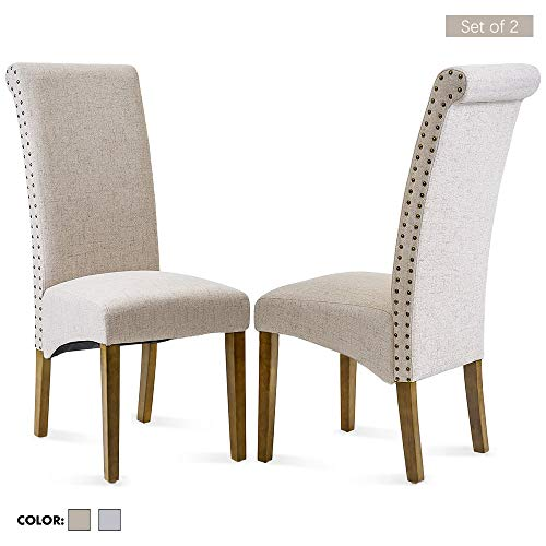 Dining Chair Set of 2 , Stylish Upholstered Fabric Padded Side, Nail Head Trim Detail Solid Wood Legs, Perfect for for Home Kitchen Living Room, Beige