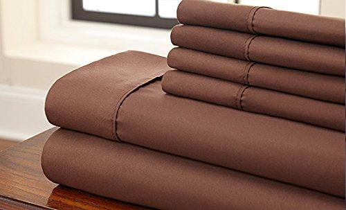 LaxLinens 650 fils drap drap simple Marron chocolat coton 100%  bois massif
