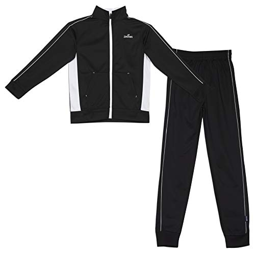 Spalding Boys Side Stripe Tricot Athletic Two-Piece Tracksuit Set Black 14